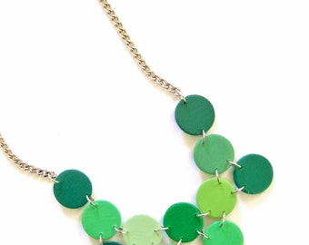 Modern geometric wooden necklace- circular in different shades of green - modern, contemporary, minimalist handmade jewelry- eco friendly