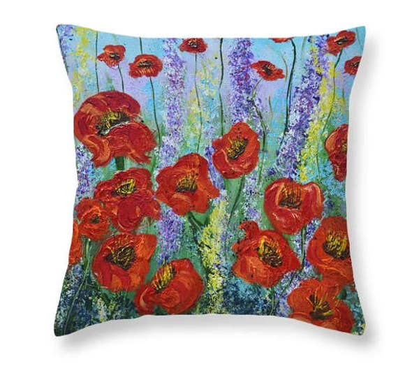 Red Blue Decorative Pillow Poppy Flowers Throw Accent Pillow Awesome Poppy Floral Decorative Pillows