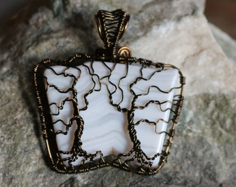 Double Tree of Life Pendant with Smoky Quartz color wire and white agate