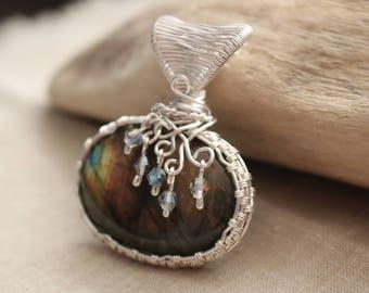 Labradorite pendant wrapped in non-tarnish silver plated wire