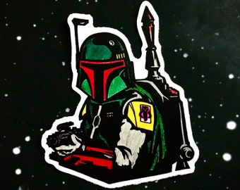 "Boba Fett ""No Disintegrations"" Star Wars Bounty Hunter Full Color Sticker | Car, Laptop, Water Bottle, Tumbler Vinyl Sticker | 3"" x 2.5"""