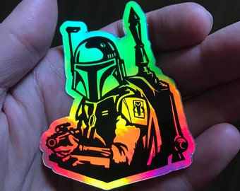 "Boba Fett ""No Disintegrations"" Star Wars Bounty Hunter Holographic Sticker | Car, Laptop, Water Bottle, Tumbler Vinyl Sticker | 3"" x 2.5"""