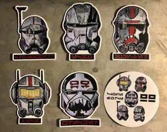 "The Bad Batch ""Clone Force 99"" Star Wars Stickers | Laptop, Water Bottle, Tumbler Six (6) Piece Vinyl Sticker Set"