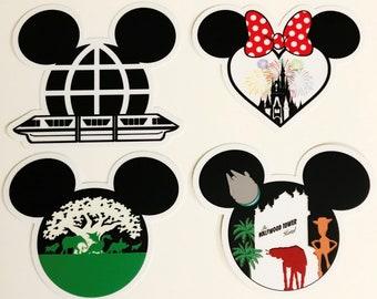 "Walt Disney World Sticker Collection | 4 Stickers. 4 Parks. 1 Magical World | Car, Laptop, Water Bottle, Tumbler Vinyl Sticker Set | 3"" x 3"""
