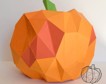 Geometric paper craft pumpkin paintable