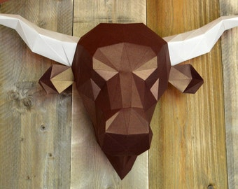 Salers Cow or Bulls Head Print & fold papercraft kit