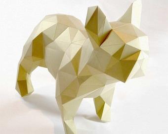 Dogo - DIY folding kit for a beautiful geometric low poly diamond style French Bulldog papercraft