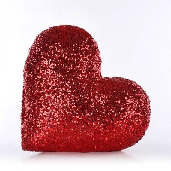 Sequin heart pillow | Etsy