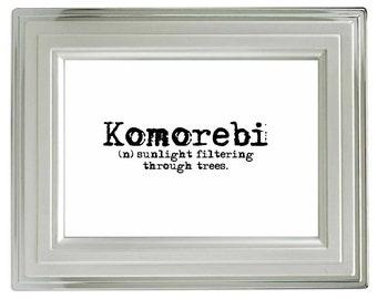 Komorebi: Sunlight filtering through trees, Beautiful Words Print