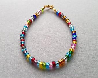 seed beads bracelet multicolor; friendship bracelet multicolor.