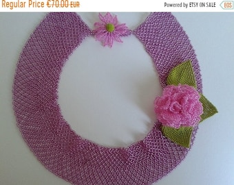 ON SALE Necklace Beaded Necklace Rose