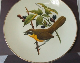 Vintage North American Songbird Plate - Yellow-Breasted Chat