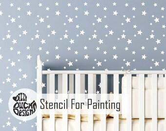 5 Point STAR CLUSTER STENCIL   Childrenu0027s Wall Stencil For Girls Room  Nursery Kids Room   STAR01