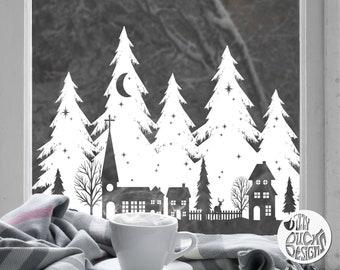 Winter Window Cling Decal Sticker   Classy Christmas Village & Trees White Xmas Window Decoration