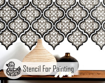 TEMARA 3-Layer Tile Stencil - Moroccan Furniture Floor Wall Tile Stencil for Painting - TEMA01