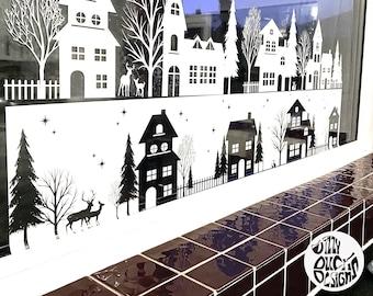 Christmas Window Decal   Tall Large Xmas Shop Window Sticker   Nordic Xmas Decoration   Winter Village Santa Scene
