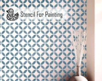 TSUNAGI STENCIL - Japanese Geometric Furniture Floor Craft Wall Stencil for Painting - TSUN01