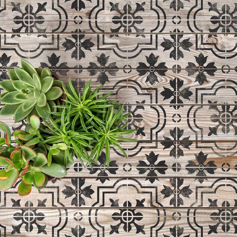 MARBELLA Tile Stencil  Floor Wall Moroccan Large Reusable image 0
