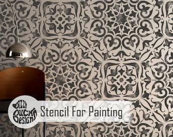 MYSURU STENCIL - Indian Bohemian Wall Furniture Floor Craft Stencil for Painting - MYSU01