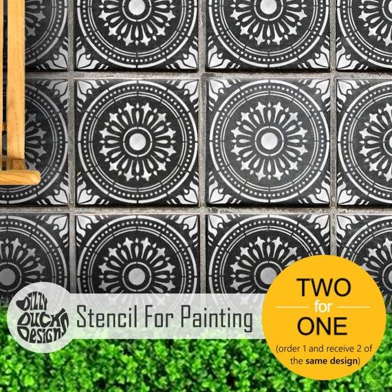 Verona Tile Stencil Floor Large Reusable Stencil For Etsy