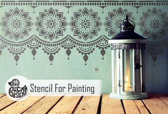 Sagar Indien Bordure Meubles Mural Pochoir pour Peinture