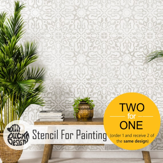 Tangier Spanish Tile Stencils for Painting Walls and Floors Custom Sizes Available 45 cm