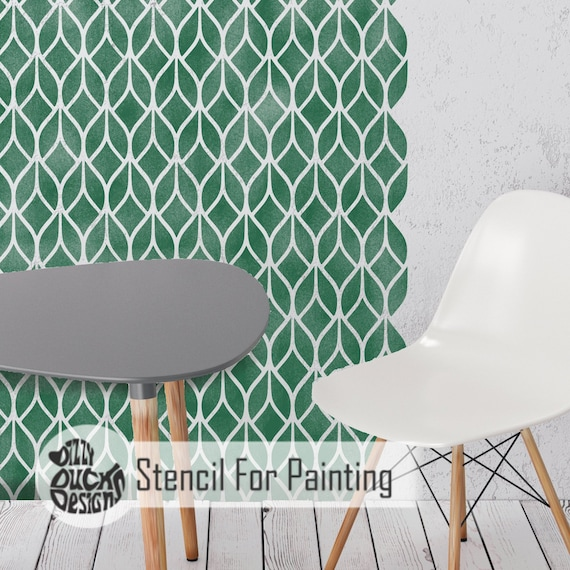Furniture Wall Floor Stencil for Painting FALLING LEAVES Modern Leaf Stencil