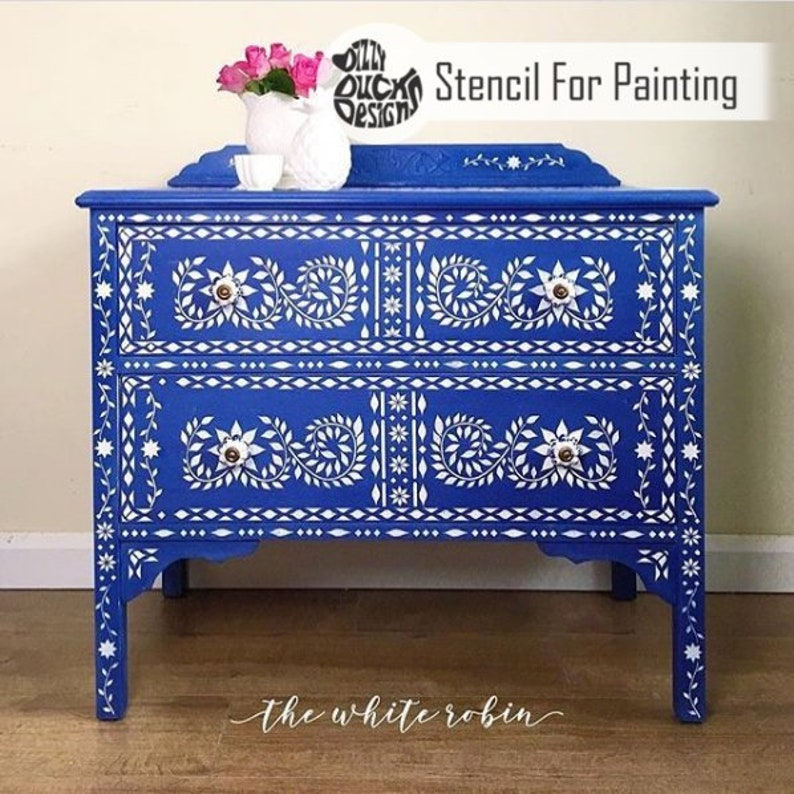 JAIPUR STENCIL  Indian Inlay Furniture Floor Craft Stencil image 0