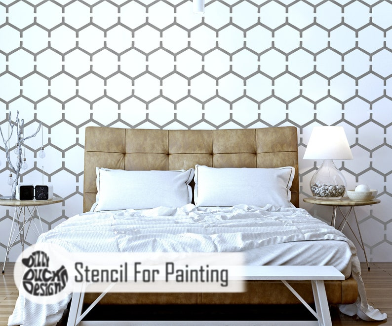 HONE01 HONEYCOMB STENCIL Modern Hexagaon Wall Furniture Craft Floor Stencil for Painting