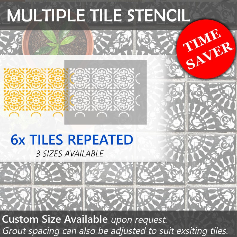 TAVIRA Tile Stencil \u2013 Floor Wall Moroccan Large Reusable Stencils for Painting by Dizzy Duck Designs