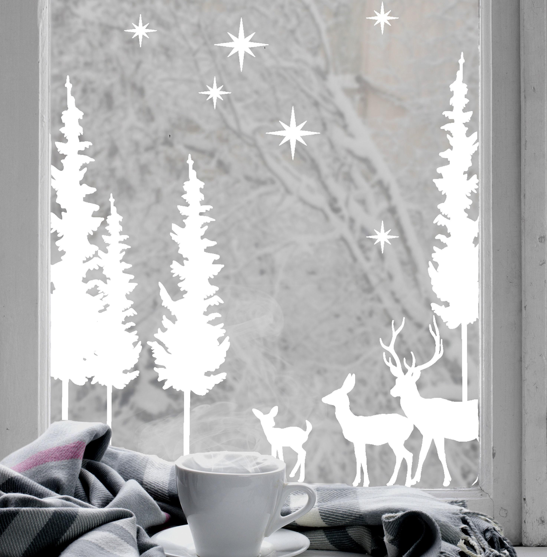 Weihnachten Hirsch Wald Szene weißen Klammern Vinyl Fenster | Etsy
