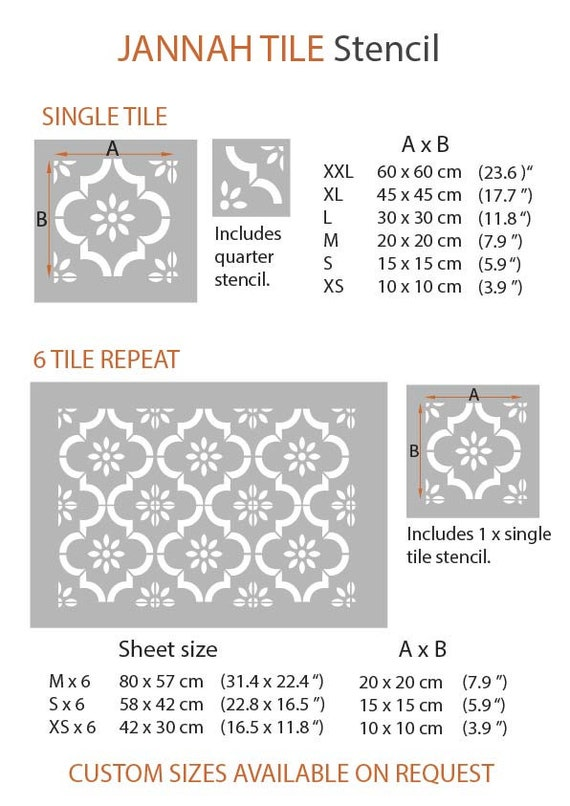 Custom Sizes Available 15 cm Repeat Jannah Moroccan Flower Tile Stencils for Painting Walls and Floors