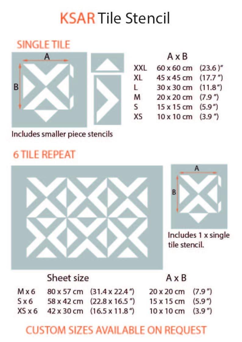 Large Stencil KSAR Tile Stencil for Painting Geometric Triangle Stencil for Painting DIY Tiles KSAR01