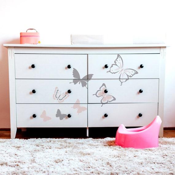 BUTT01 SET OF 6 BUTTERFLY Stencils Girls Bedroom Children/'s Room Kids Room Nursery Stencil for Painting