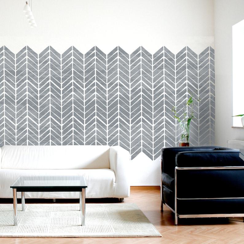 Modern Fishbone Wall Floor Furniture Craft Stencil for Painting HERR01 HERRINGBONE STENCIL