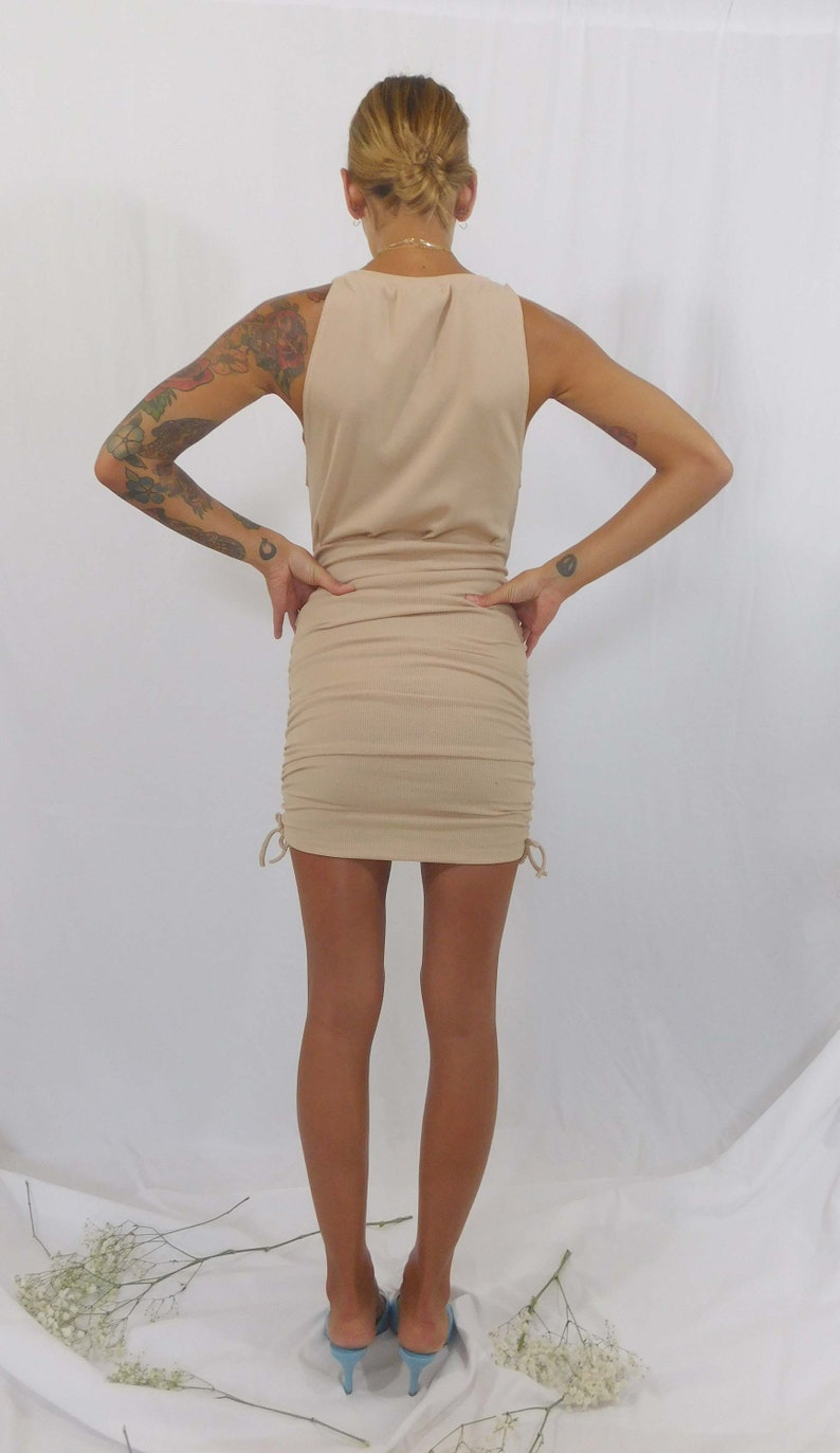 party dress Sleeveless bodycon ruche mini dress y2k cocktail dress ribbed dress holiday party dress pleated cotton