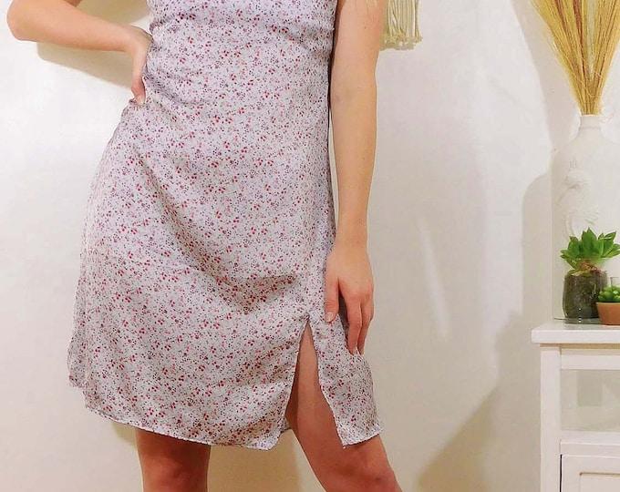 Hadley Blue and Magenta Floral Print Mini Slip Dress