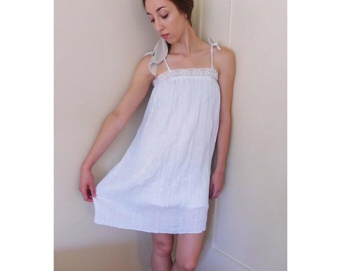 Addison White Embroidered Gauze Mini Dress