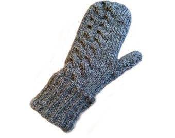Chunky natural wool mittens
