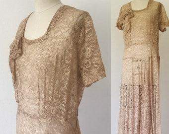 Vintage 1930's Lace Drop Waist Dress l L
