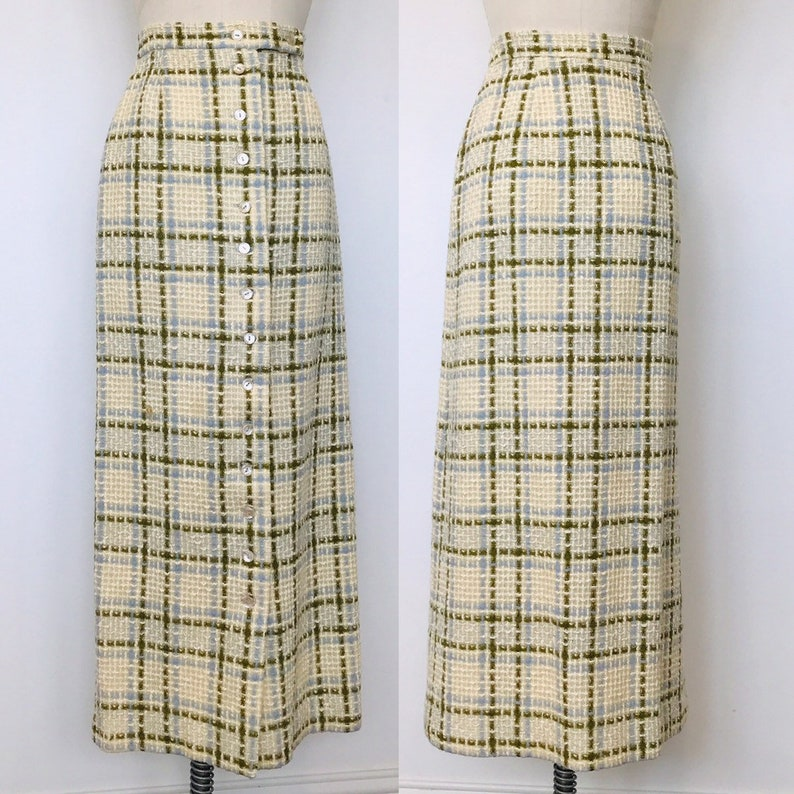 1970's Wool Midi Skirt Button Front High Waist Nubbly  M image 0
