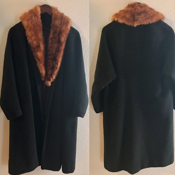 30's I. Magnin Wool Coat with Removeable Mink Coll
