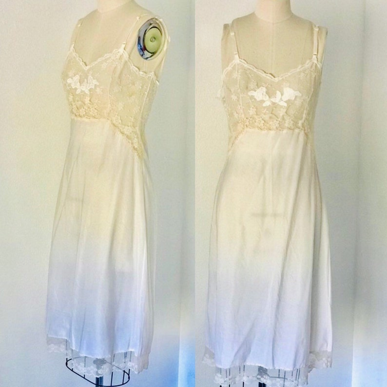 1950's Lady Lynne Full Slip Lace White & Beige Satin image 0