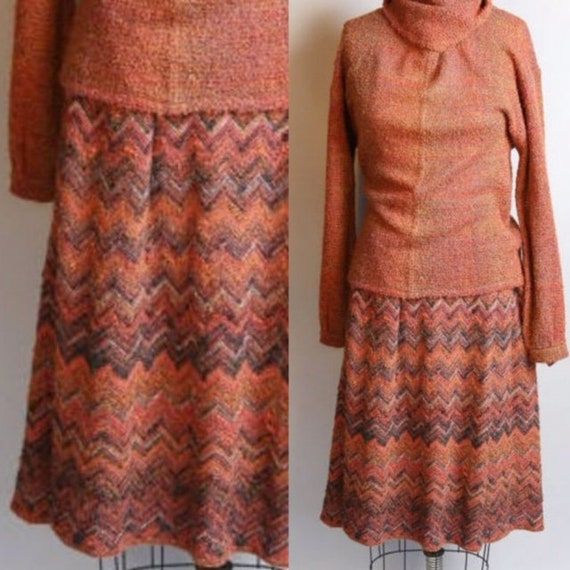 1950's Dalton Sport Mohair Chevron Sweater & Skirt