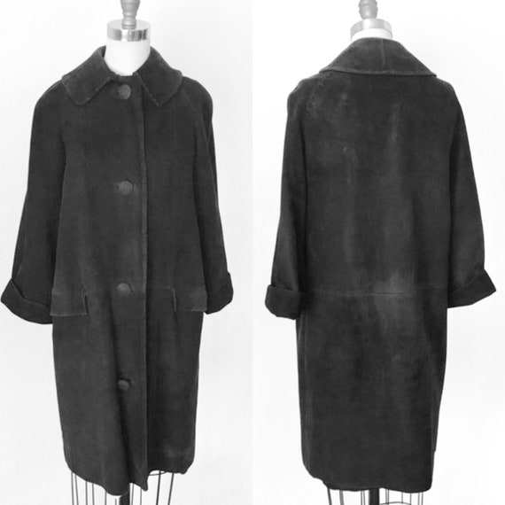 60's Suede Walking Coat Removeable Collar | M
