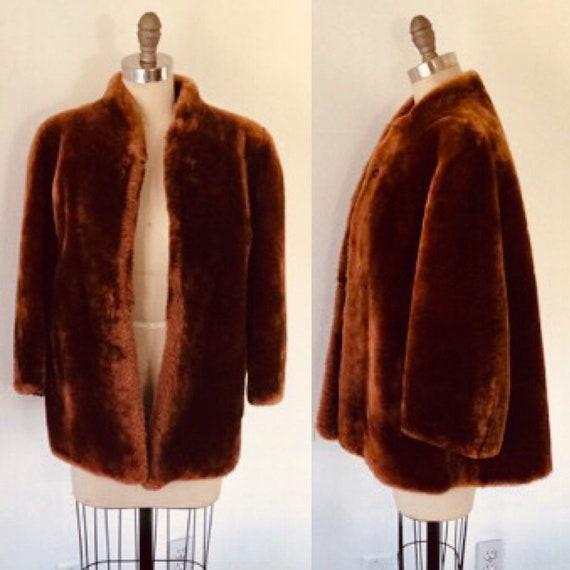 40's Faux Fur Cropped Swing Coat M/L