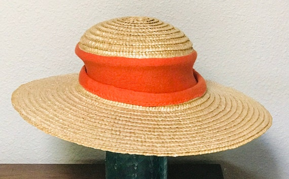 70's French Country Picture Hat Wide Brimmed Stra… - image 3