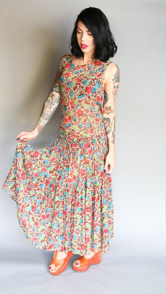 Custom 30's Silk Chiffon Flapper Dress | L - image 2