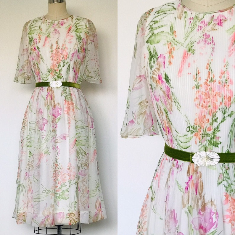 1960's Silk Chiffon Accordian Pleat Day Dress with image 0