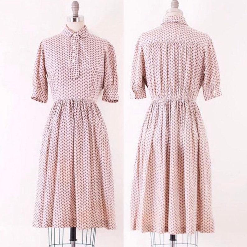 1950's Floral Shirt Dress l M image 0